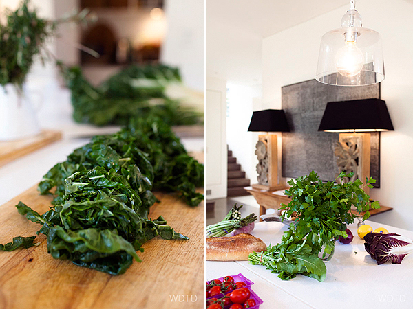 For this dish, Kate uses the seasonal greens of silverbeet leaves and asparagus as the accompanying vegetables